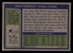 1972 Topps #61  Jan Stenerud  Back Thumbnail