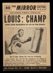 1954 Topps Scoop #40   -  Joe Louis Joe Louis New Champ Back Thumbnail