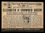 1954 Topps Scoop #52   Queen Elizabeth II Crowned Back Thumbnail