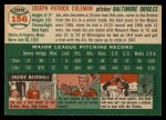1954 Topps #156  Joe Coleman  Back Thumbnail