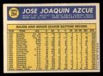 1970 Topps #294  Joe Azcue  Back Thumbnail