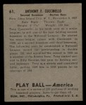 1939 Play Ball #61  Tony Cuccinello  Back Thumbnail