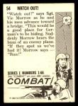 1964 Donruss Combat #54   Watch Out! Back Thumbnail