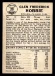 1960 Leaf #20  Glen Hobbie  Back Thumbnail