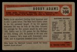 1954 Bowman #108  Bobby Adams  Back Thumbnail