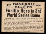 1961 Nu-Card Scoops #432   -   Carl Furillo  Furillo Hero As Dodgers Beat Chicago Back Thumbnail