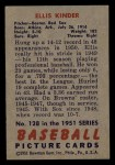 1951 Bowman #128  Ellis Kinder  Back Thumbnail