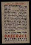 1951 Bowman #96  Sandy Consuegra  Back Thumbnail