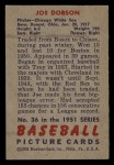 1951 Bowman #36  Joe Dobson  Back Thumbnail