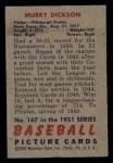 1951 Bowman #167  Murry Dickson  Back Thumbnail