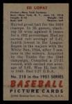 1951 Bowman #218  Eddie Lopat  Back Thumbnail