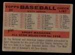 1958 Topps #397 *NUM*  Tigers Team Checklist Back Thumbnail