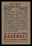 1951 Bowman #30  Bob Feller  Back Thumbnail
