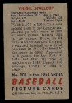 1951 Bowman #108  Virgil Stallcup  Back Thumbnail