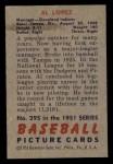 1951 Bowman #295  Al Lopez  Back Thumbnail