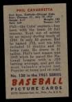1951 Bowman #138  Phil Cavarretta  Back Thumbnail