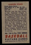 1951 Bowman #134  Warren Spahn  Back Thumbnail