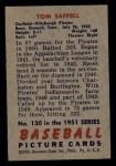 1951 Bowman #130  Tom Saffell  Back Thumbnail