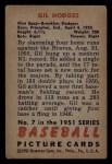 1951 Bowman #7  Gil Hodges  Back Thumbnail