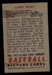 1951 Bowman #151  Larry Doby  Back Thumbnail
