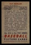 1951 Bowman #313  Ray Mueller  Back Thumbnail