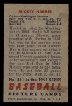 1951 Bowman #311  Mickey Harris  Back Thumbnail
