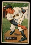 1951 Bowman #203  Vern Law  Front Thumbnail