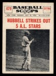 1961 Nu-Card Scoops #479   Carl Hubbell   Front Thumbnail