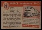 1954 Topps World on Wheels #20   Pierce Motorette 1903 Back Thumbnail