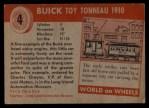 1954 Topps World on Wheels #4   Buick Toy Tonneau 1910 Back Thumbnail