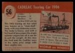 1954 Topps World on Wheels #56   Cadillac Touring Car 1906 Back Thumbnail