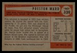 1954 Bowman #139 CF Preston Ward  Back Thumbnail