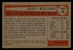 1954 Bowman #9  Davey Williams  Back Thumbnail