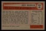 1954 Bowman #4  Bob Hooper  Back Thumbnail