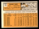 1963 Topps #140  Frank Lary  Back Thumbnail