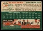 1954 Topps #119  Johnny Antonelli  Back Thumbnail