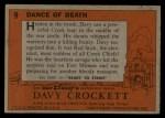 1956 Topps Davy Crockett #9 ORG  Dance of Death  Back Thumbnail