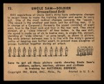 1941 Gum Inc. Uncle Sam Home Defense #73   Streamlined Drill Back Thumbnail