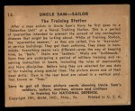 1941 Gum Inc. Uncle Sam Home Defense #13   The Training Station Back Thumbnail