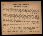 1941 Gum Inc. Uncle Sam Home Defense #51   Parachute Attack Back Thumbnail