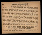 1941 Gum Inc. Uncle Sam Home Defense #89   Marine Mountain Battery Back Thumbnail
