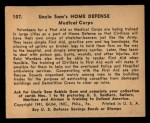1941 Gum Inc. Uncle Sam Home Defense #107   Medical Corps Back Thumbnail