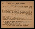 1941 Gum Inc. Uncle Sam Home Defense #116   Home Shelter Room Back Thumbnail