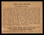 1941 Gum Inc. Uncle Sam Home Defense #7   Parachute Troops Back Thumbnail