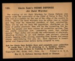 1941 Gum Inc. Uncle Sam Home Defense #100   Air Raid Warden Back Thumbnail