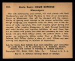 1941 Gum Inc. Uncle Sam Home Defense #101   Messengers Back Thumbnail
