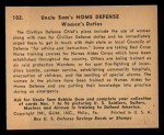 1941 Gum Inc. Uncle Sam Home Defense #102   Women's Duties Back Thumbnail