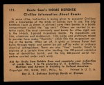 1941 Gum Inc. Uncle Sam Home Defense #111   Civilian Information About Bombs Back Thumbnail