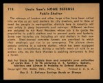 1941 Gum Inc. Uncle Sam Home Defense #118   Public Shelter Back Thumbnail