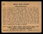 1941 Gum Inc. Uncle Sam Home Defense #20   Man Overboard Back Thumbnail